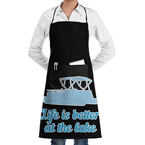 Drempad Mens Womens Bib Schürze Das Leben am See ist Besser Verstellbare Polyester Küchenschürze für Frauen