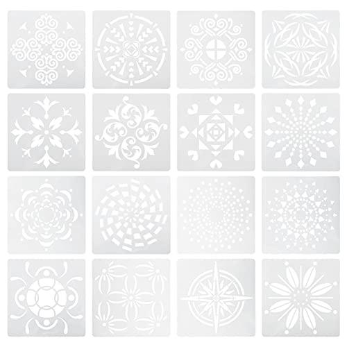 EXCEART Plantilla de Pintura de Mandala Reutilizable Plantilla de Pintura de Mandala DIY Flor de Mandala Pintura de Arte para Dibujar Plantillas de Muebles de Tela Pintura
