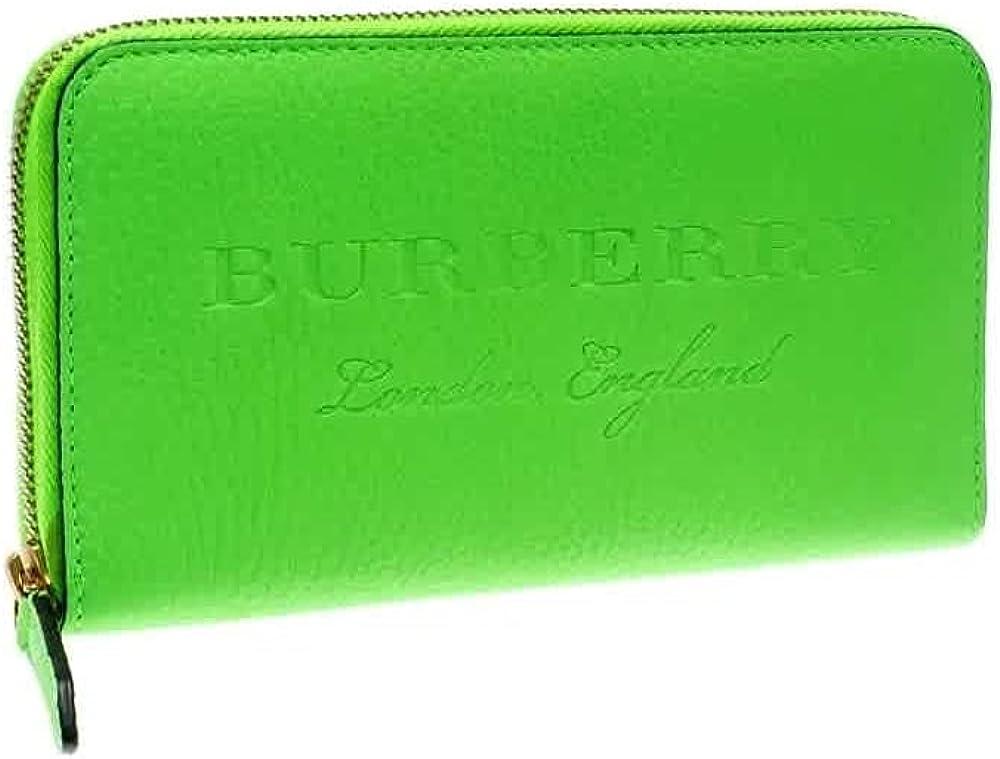 Burberry Bright Green Ladies Embossed Ziparound Wallet
