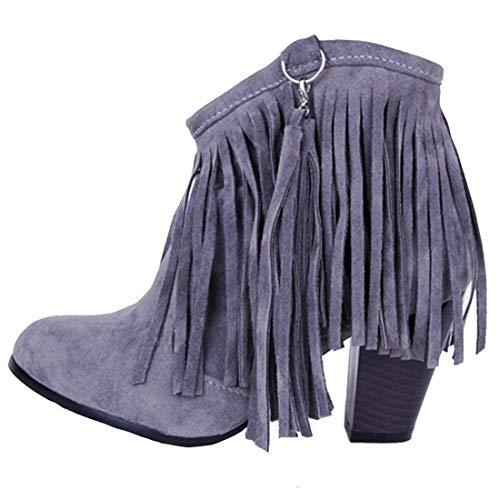 MISSUIT Damen Fransen Stiefeletten mit Blockabsatz Ankle Boots 8cm Absatz Winter Schuhe (Grau,37)