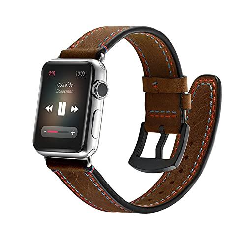 Correa de reloj para Apple Watch 1/2/3/4/5/6/SE, compatible con Apple Watch correas de 42 mm/38 mm con hebilla de plata inoxidable, correa de reloj clásico retro de piel auténtica, marrón, 42 mm/44 mm