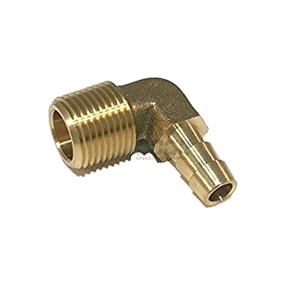 """EDGE INDUSTRIAL 5/16"""" Hose ID to 3/8"""" Male NPT MNPT 90 Degree Elbow Brass Fitting Fuel / AIR / Water / Oil / Gas / WOG"""