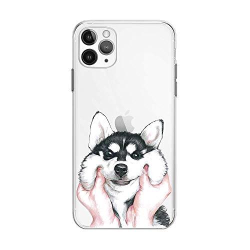 FancyHülle Kompatibel mit iPhone 12 Pro Max (6,7 Zoll) Tiermuster Weiche Silikon Schutzhülle Transparent iPhone 12 Pro Max Hülle (Husky Face)