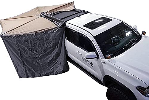 DANCHEL OUTDOOR Camper Roof Rack 270 Khaki Awning with Gray Room for SUV Trucks Overland Car Tents for Camping (Rad. 6.5ft Right)