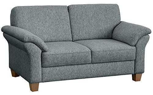 CAVADORE 2-Sitzer Byrum / Große 2er-Couch im Landhausstil mit Federkern / Passend zur edlen Sofagarnitur Byrum / 156 x 87 x 88 / Flachgewebe: Hellgrau