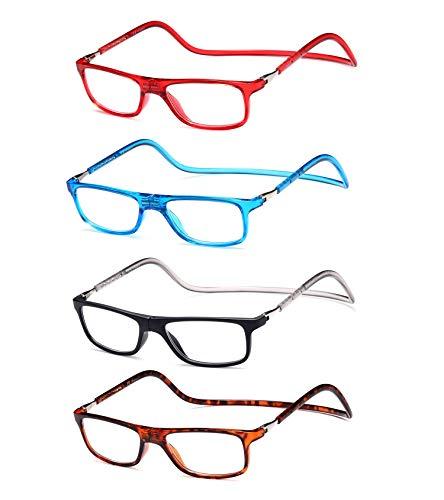 Pack 4 magnetische verstellbare und klappbare Brille mit Tragegurt, für die horizontale Sicht von Presbia, Dioptrien von +1,00 bis +3,50, Halterung für Paste, Scharniere Standard, Unisex +200 (925)