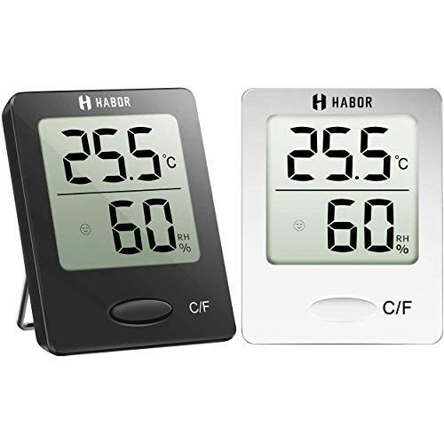 Habor 2 Stück Hygrometer Innen, Digital Thermometer Innen, Tragbares Hydrometer Feuchtigkeit mit Hohen Genauigkeit, Luftfeuchtigkeitsmessgerät Innen, Thermo-Hygrometer für Babyraum, Schwarz Weiß
