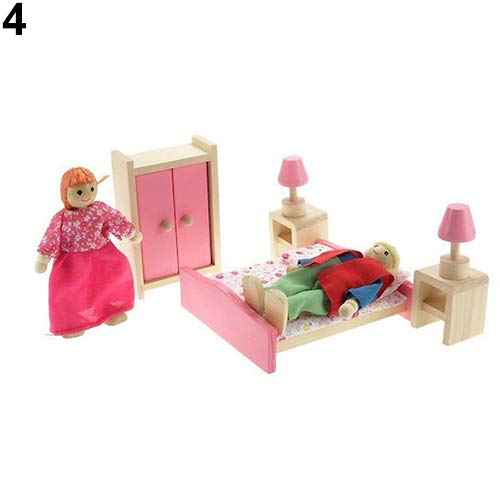 GMNP0di% Dollhouse Miniature with Furniture, Dollhouse Miniatures, Wooden Family Miniature Dolls Furniture Doll House Room Set Toy Pretend Play Kids Toy Bedroom -  H9G9B9N1L4RIX65TI204O