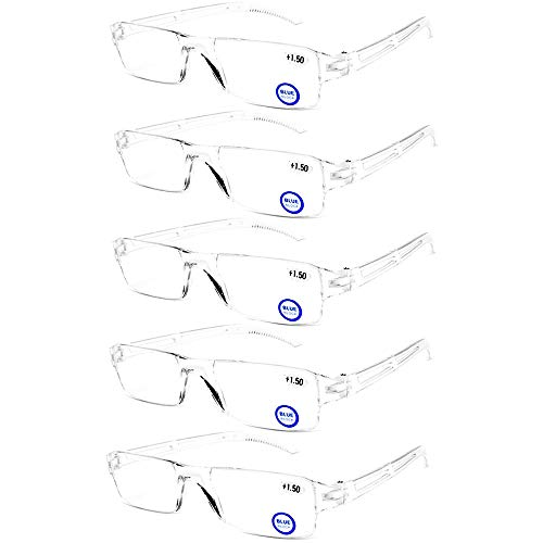 Blue Light Blocking Computer Reading Glasses - AQWANO 5 Pack Clear Frame Rimless Readers Anti Glare Filter Lightweight Eyeglasses for Women Men,2.0
