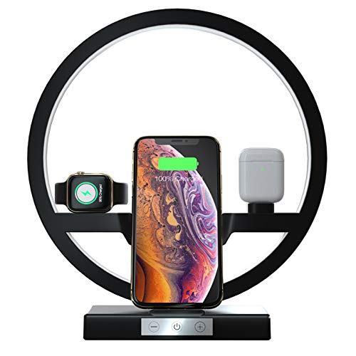 3 IN 1 QI Fast Draadloze oplader Dock voor Iphone 11 Pro Max Apple Watch iWatch 1 2 3 4 5 Airpods Charger Holder LED Lamp 30W,Black