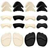 12 Pairs High Heel Cushion Pads Includes Adjustable Toe Filler Inserts Front Insoles Heel Grips Liner Insert for Preventing Too Big Shoe from Heel Slipping Blisters Relieve Pain (Elegant Style)