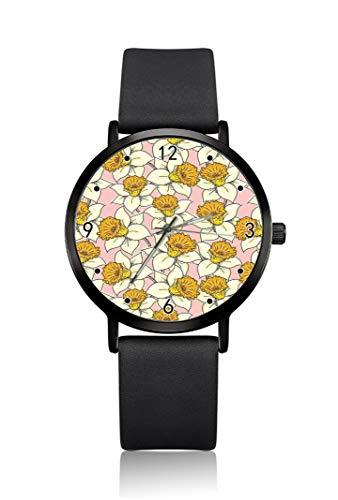 Reloj de Pulsera para Mujer con diseño de Almohadilla de ratón, Color Amarillo, Ultra Delgado, analógico, Ultra Delgado, Movimiento de Cuarzo japonés