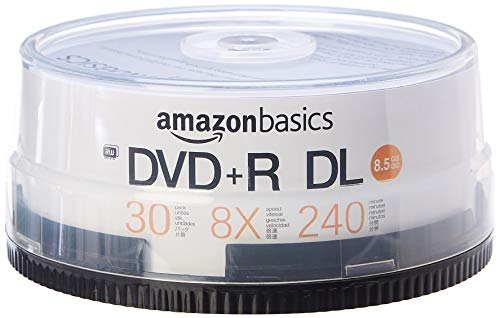 AmazonBasics – DVD+R-DL-Rohlinge, 8,5 GB, 8x, Spindel mit 30 Stück