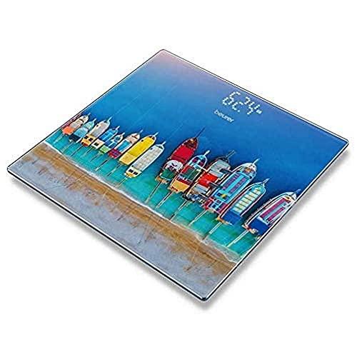 Beurer GS-215 - Báscula digital de vidrio con diseño barcas, pantalla LCD invisible, dígitos 2.7cm, 180 kg / 100 gr, vidrio seguridad, indicador batería baja, multicolor