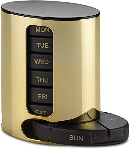 Organizador semanal de píldoras (4 veces al día) recordatorio de medicamentos apilable diario – Pastillero semanal AM/PM con 7 cajas de apilamiento individuales