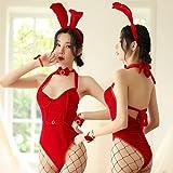 HOMEJYMADE Terciopelo conejo Cosplay personalizado, Halloween Chrismas Cosplay Lencería Noche Wear Bodys con conejo horquilla para fiesta (rojo,M)