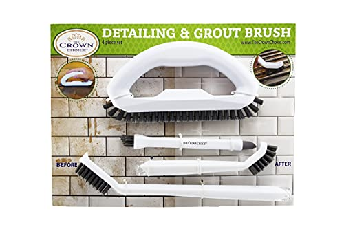 Grout Cleaner Brush with Stiff Angled Bristles and 3-in-1 Grout Cleaning Brush Supplies to Deep Clean Tile Lines, Detail Kitchen, Scrub Bathroom, Shower   4Pc Home Detail and Grout Cleaner Brushes Set