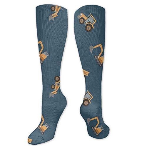 Calcetines Altos ~ Dibujos animados Juguete Excavadora móvil Poliéster Algodón Sobre calcetines Personalizado Unisex Muslo Medias Cosplay Calcetín 50CM