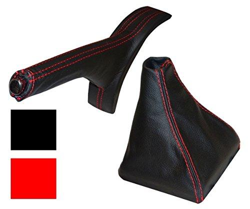 AERZETIX: Funda para palanca de cambios y freno de mano 100% PIEL GENUINA negro con costuras rojo