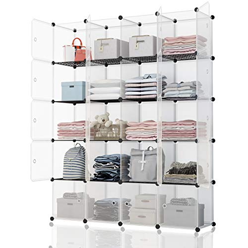 KOUSI Portable Storage Cubes-14 x14 Cube (20 Cubes)-More Stable (add Metal Panel) Cube Shelves with Doors, Modular Bookshelf Units,Clothes Storage Shelves,Room Organizer for Cubby Cube