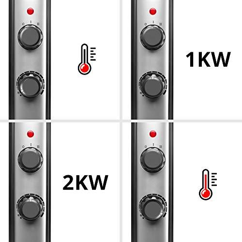Duronic HV220 Radiateur électrique en mica sans Huile de 2000 Watts avec Thermostat - Chauffe en Une Minute