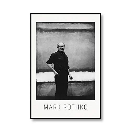 Famoso Mark Rothko abstracto colorido cartel de exposición impresión lienzo pintura arte moderno sin marco lienzo pintura Q-3 60x80cm
