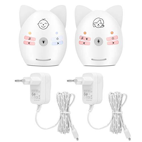 YOUTHINK Baby Monitor Digital Audio Portátil Inalámbrico Música incorporada Baby Monitor Intercomunicador bidireccional Monitor recordatorio para bebés con luz Nocturna(UE)