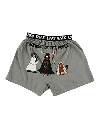 Lazy One Funny Animal Boxers, Novelty Boxer Shorts, Humorous Kids' Underwear, Gag Gifts for Boys (Beware of The Force, Medium)