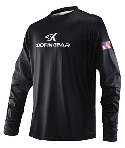 Performance Fishing Shirt Sun Protection Shirt UPF50 Outdoor Long Sleeve Dry-Fit Athletic Shirts US Flag Black