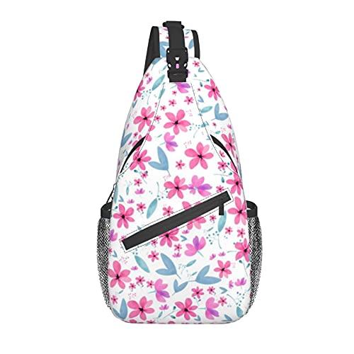 BYTKMFD Pequeña flor rosa cruz pecho bolsa diagonal, mochila honda, fin de semana al aire libre senderismo viaje bolsa para ciclismo hombre mujer, Black, Talla única