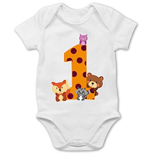 Shirtracer Geburtstag Baby - 1. Geburtstag Waldtiere - 12/18 Monate - Weiß - Body 1.Geburtstag - BZ10 - Baby Body Kurzarm für Jungen und Mädchen