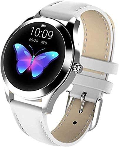 JSL Reloj inteligente para mujer, reloj de moda, frecuencia cardíaca, detección de presión arterial, podómetro deportivo (color: blanco)-C