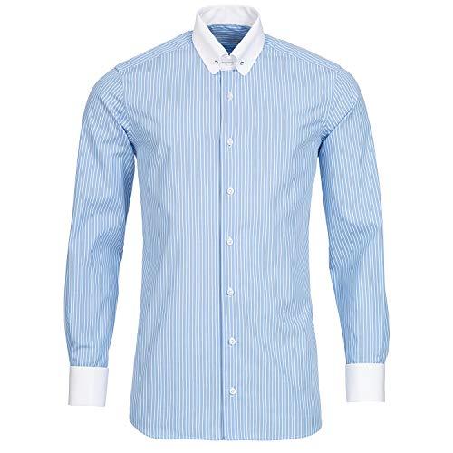 Schaeffer Hemd Modern Cut Streifen hellblau Piccadilly Kragen/Pin Collar weiß, Größe: M
