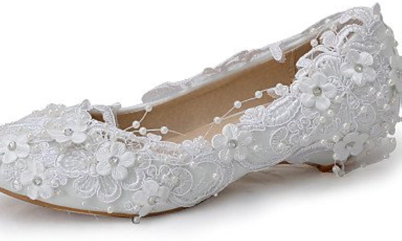 BGYHU GGX Damen Schuhe Seide Keilabsatz Keilabsatz Keile Heels Hochzeit Party  Abend Kleid Weiß  Marke
