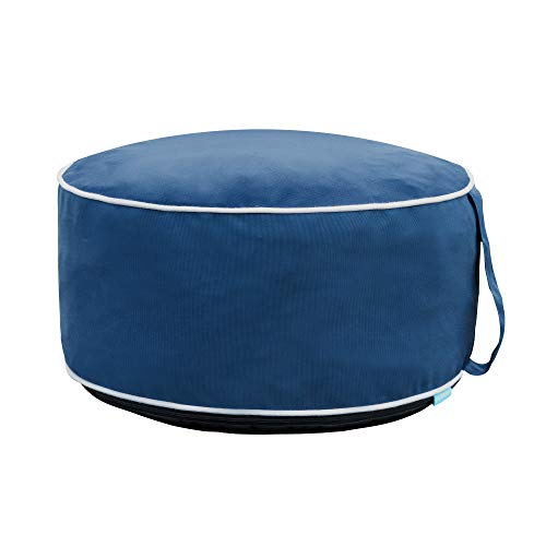 QILLOWAY Indoor/Outdoor Inflatable Stool,Round Ottoman,All Weather Foot Rest