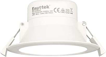 10W Recessed LED Ceiling Lamp Recessed Downlight Cool White Lighting 5000K Cut Φ90-105MM 100-240V IP44 Dampproof for Kitchen Bathroom 1 Pack by Enuotek