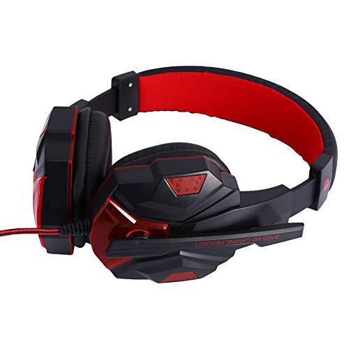 Cocoarm Casque de Jeu à réduction de Bruit, Casque de Jeu stéréo avec Microphone à Effet de lumière LED Câble Audio pour PC PS4 PS5 Xbox One Xbox Series X 3,5 mm (Bleu)(Rouge)