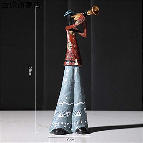 JYJYJY Estatuas Figuritas Decoración Escultura Figuritas Decorativas Figura Creativa Arte Música Banda De Rock Resina Estatua Diversión Retro Músico Decoración del Hogar Saxofón Guitarra C