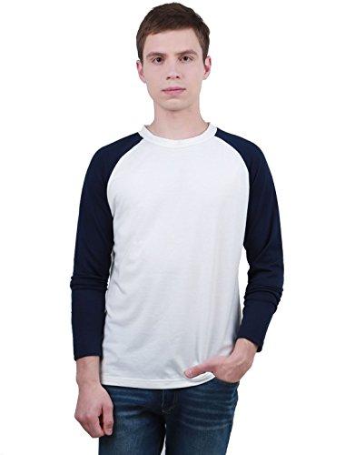 Sourcingmap Homme Long Raglan Manches Blocs de Couleur Coupe Régulière Confort T-Shirt Blanc 38