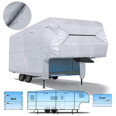 """RVMasking RV 5th Wheel Cover 40'1"""" - 43'6""""L with Free Adhesive Repair Patch, Ripstop & Waterproof Camper Cover"""
