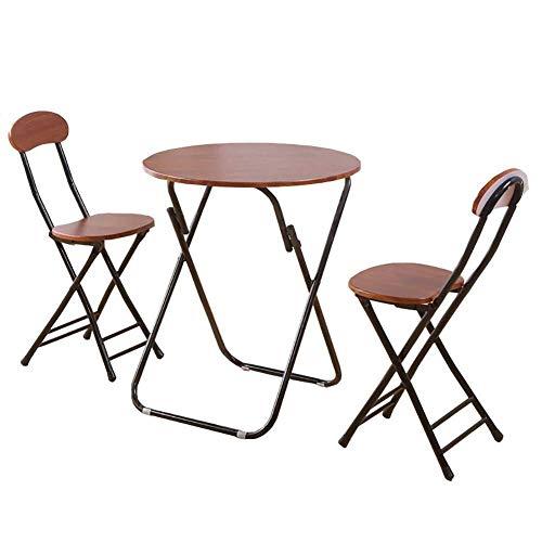 WTT Inklapbare tafel Tuintafels eettafel Inklapbare eetkamerstoel Set van 3 bruine Tuin Koffie Computer Bureau, 1 tafel + 2 stoelen (Afmetingen: 80x80x71cm)