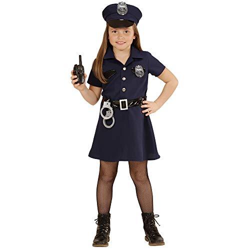 WIDMANN 49087?Disfraz para niños Agente de Policía, vestido, cinturón, sombrero, Esposas, de walkie talkie, tamaño 140