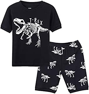 Image of Black Dinosaur T-Rex Glow in the Dark Pajama Shorts Sets for Boys and Toddler Boys - See More Sets