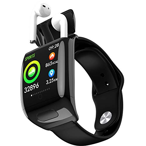 Smart Watches with Bluetooth Earbuds for Men Women, Pedometer Watch for Android Phones Fitness Tracker Watch with Heart Rate Monitor Blood Pressure Blood Oxygen Monitor, Sleep, Step Tracker Black