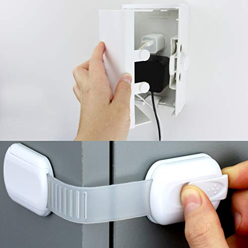 Child Safety Locks (10 Pack) and Outlet Cover Box Bundle. Childproof your house easily!
