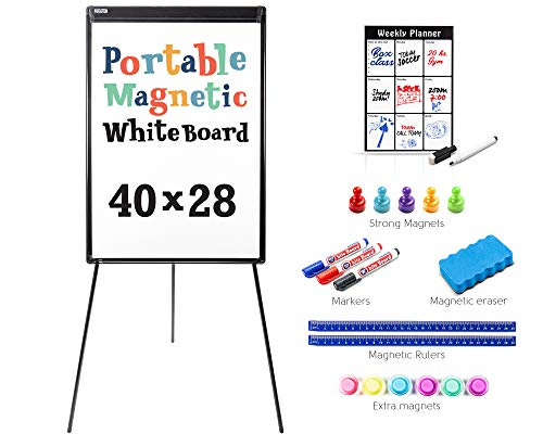 Kasolution Portable Magnetic Easel White Board | Tripod Stand Dry Erase 40 x 28 Whiteboard Flip Chart with Adjustable Legs for Home Office & Classroom Folding Design