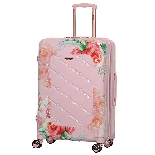 "Aerolite Medium 25"" Lightweight Polycarbonate Hard Shell 4 Wheel Hold Check in Luggage Suitcase, Floral Pink"