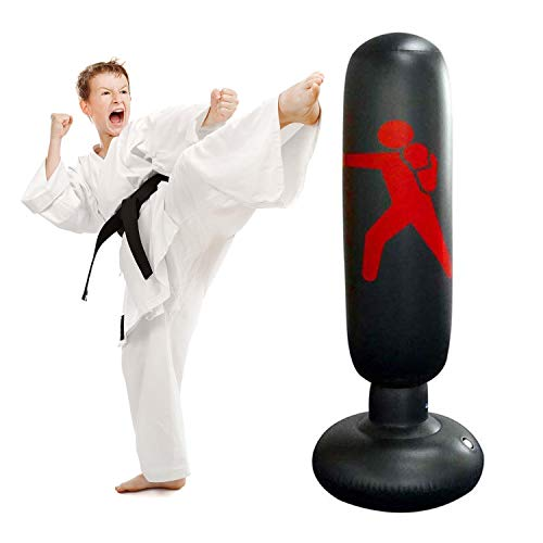 JanTeelGO Boxsack Kinder 160cm, Standboxsack Boxsack Stehend Aufblasbare Boxsäule Tumbler Kinder/Erwachsene Fitness Dekompression Sandsäcke Kick Kampftraining (Schwarz-C)