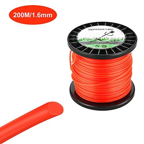 SMAWIS Trimmer Line para desbrozadora 1,6 mm/200M Hilo de Nylon de Cortacésped Redonda Naranja para Jardin Hierba