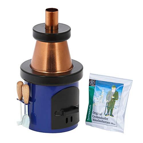Bütic Räucherofen -Kamin mit Ofenbesteck- Räucherkerzenhalter +Räucherkerzen, Räucherfigur:Kamin Blau-Kupfer
